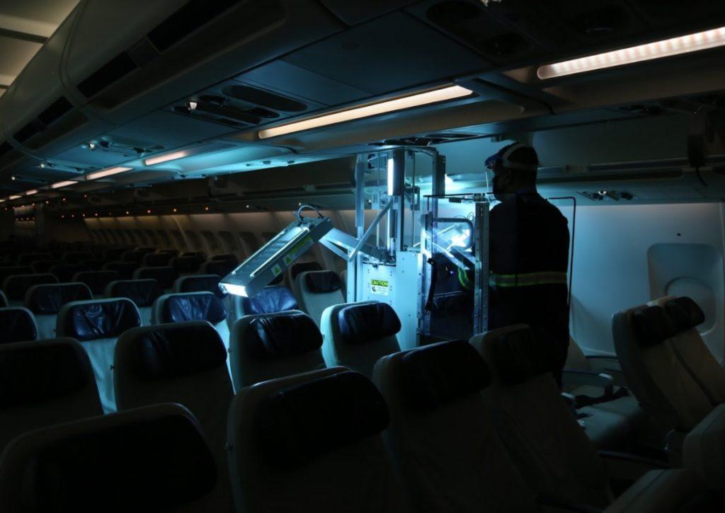 azul limpeza naves com raios ultravioleta