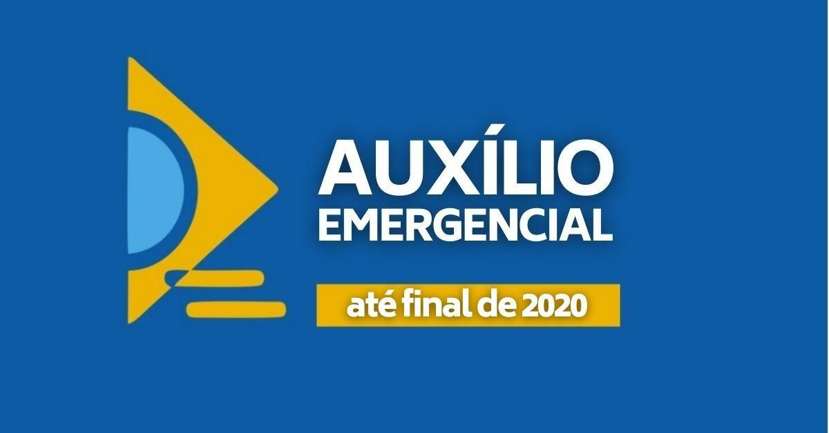 """Calendários auxílio emergencial 2020: na imagem de fundo azul, é possível ler """"auxílio emergencial"""" e, abaixo, """"até final de 2020"""""""