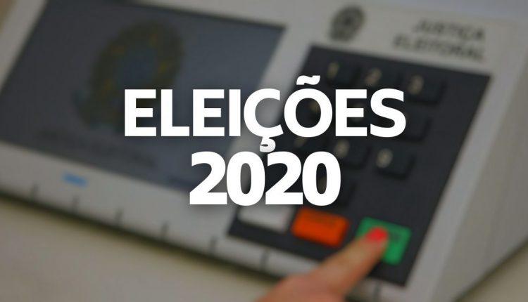 """Como justificar ausência Eleições 2020: montagem com texto """"Eleições 2020"""" por cima de imagem desfocada"""