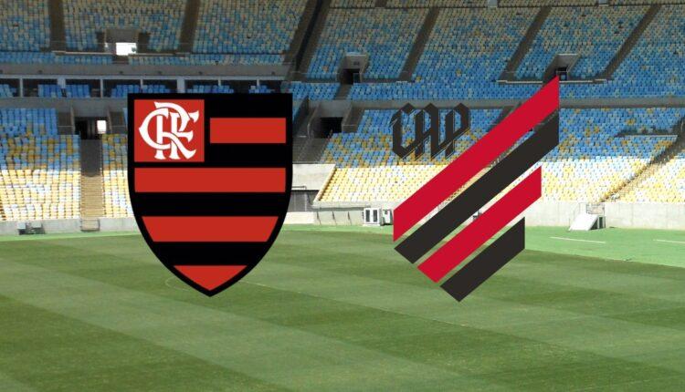 Flamengo x Athletico PR: montagem com os brasões do Flamengo e do Athetico PR, lado a lado