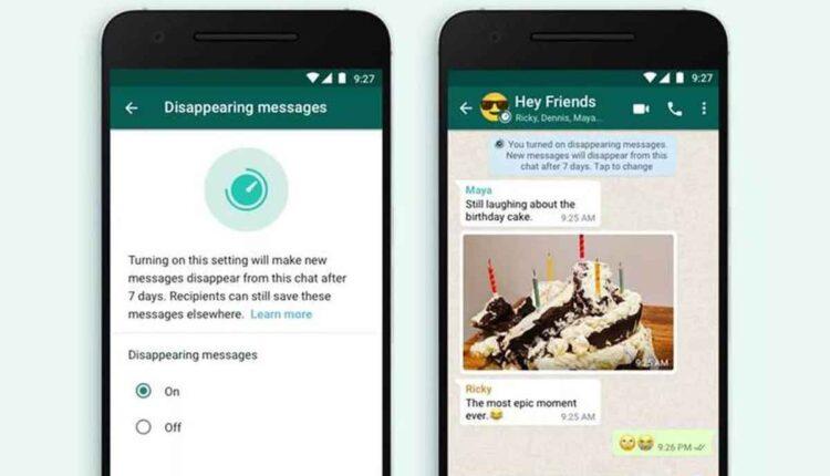 mensagens temporárias: a imagem mostra duas telas de celular abertas no whatsapp exemplificando o funcionamento do novo recurso